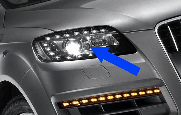 Audi q7 4l bi xenon headlights with leds 2007 2015 above genuine bi xenon headlights with led drls asfbconference2016 Image collections